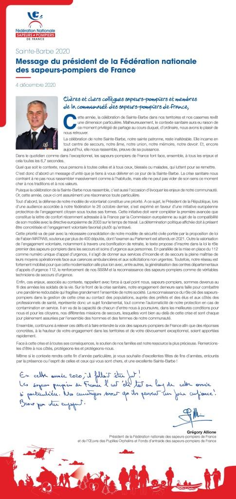 Message Président Fédération Nationale des SP de France
